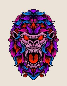 Illustratie boos gorillahoofd met kleurrijke ornamentstijl