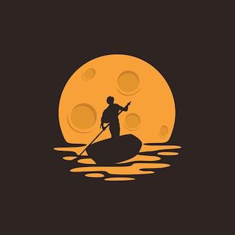 Illustratie boot dhow schip op het zeeriviermeer om te vissen of reizen logo ontwerp vector graphic