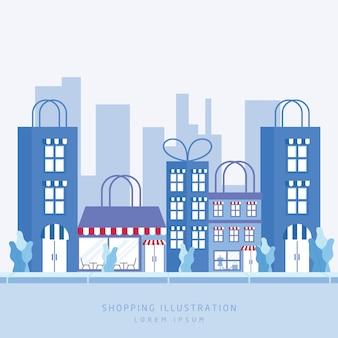 Illustratie bouwen voor winkel tas