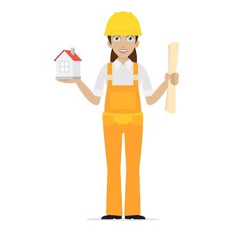Illustratie bouwer vrouw houdt huis, formaat eps 10
