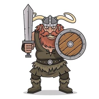 Illustratie boze viking-tribune met zwaard en schild, formaat eps 10