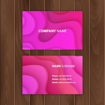 Illustratie cadeaubon sjabloon of visitekaartjes papier gesneden ontwerp van roze kleur modern patroon