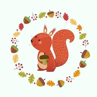 Illustratie cartoon eekhoorn met krans gemaakt van herfstbladeren en bessen. hallo herfst achtergrond.