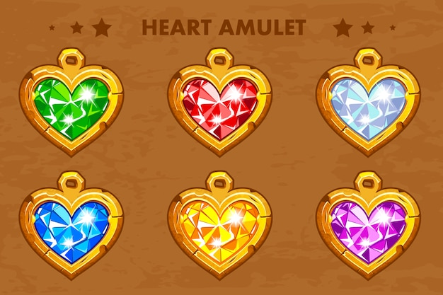 Illustratie cartoon gouden hart liefde amuletten met edelstenen.