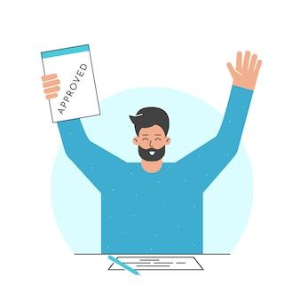 Illustratie cartoon man houdt geaccepteerd contract na dan bank goedgekeurde lening om huis te kopen
