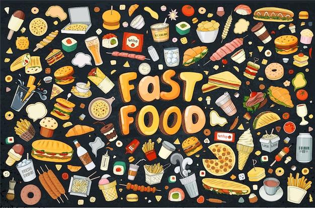 Illustratie cartoon stijl. fast food-objecten. deze collectie bestaat uit hamburger, snack, hamburger, frietjes, barbecue, drankjes en andere items.