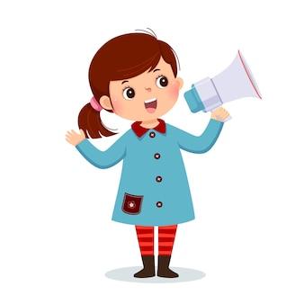 Illustratie cartoon van een klein meisje schreeuwen door megafoon
