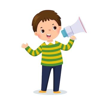 Illustratie cartoon van een kleine jongen die door megafoon schreeuwt en zijn hand toont