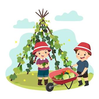 Illustratie cartoon van een kleine jongen en meisje groenten plukken in de tuin. kinderen doen van huishoudelijke taken thuis concept.