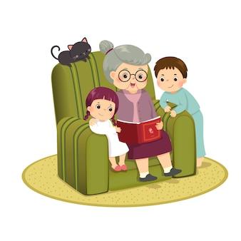 Illustratie cartoon van oma verhaal te vertellen aan haar kleinkinderen op een sofa.