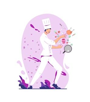 Illustratie chef-kok koken voedsel kip ui met behulp van mes en lepel plat en schetsontwerp stijl