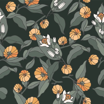 Illustratie citrus bergamia branch - vintage gegraveerde stijl. naadloos patroon in retro botanische stijl.