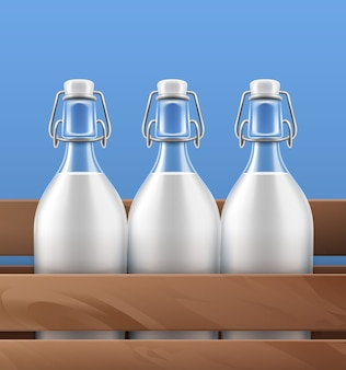 Illustratie close-up weergave van glazen flessen