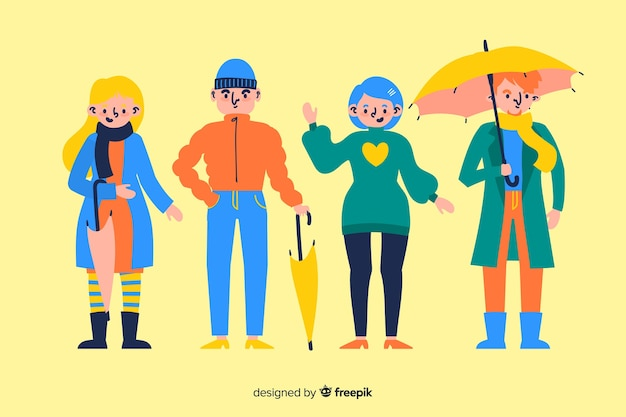 Illustratie cocncept met herfst kleding