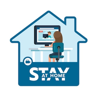 Illustratie concept coronavirus covid 19. vrouwen werken thuis met team via videoconferentie. blijf thuis pictogram.