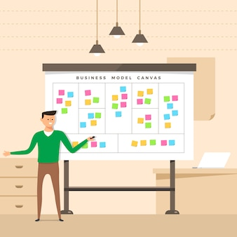 Illustratie concept de aanwezige man met whiteboard business model canvas. illustreren.
