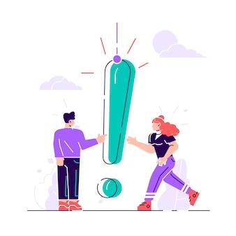 Illustratie, concept illustratie van veelgestelde vragen van mensen, wachtend op antwoord, rond het uitroepteken, antwoord op de metafoor van de vraag