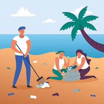 Illustratie concept mensen strand schoonmaken