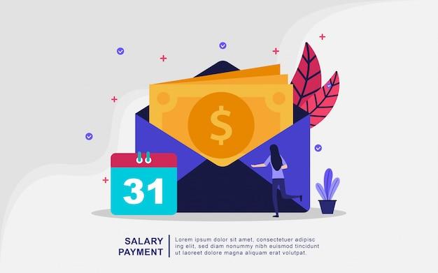 Illustratie concept salarisbetaling. loonlijst, jaarlijkse bonus, inkomen concept.