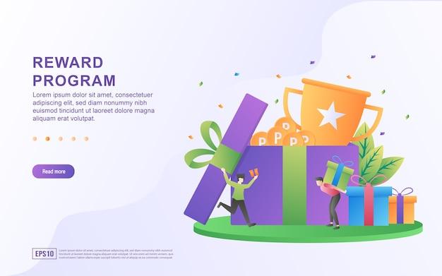 Illustratie concept van beloningsprogramma met de persoon die het cadeau voor een banner draagt
