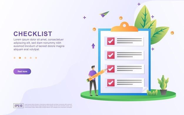 Illustratie concept van checklist met de persoon die het potlood vasthoudt.
