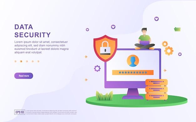 Illustratie concept van gegevensbeveiliging beveiligd met een wachtwoord.