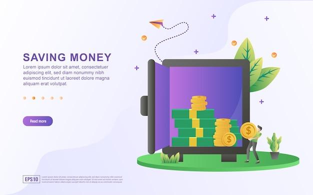 Illustratie concept van geld besparen en in de kluis stoppen.