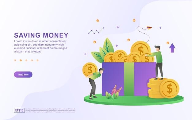 Illustratie concept van geld besparen en zet het in de doos.