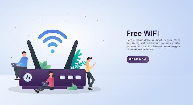 Illustratie concept van gratis wifi voor publiek of alleen voor bepaalde gebieden.