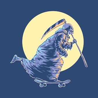 Illustratie concept van grim reaper skateboarden