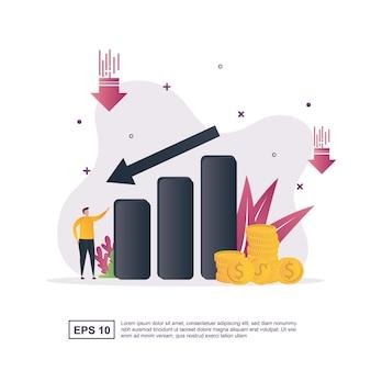 Illustratie concept van kostenreductie met een dalende grafiek en minder geld.