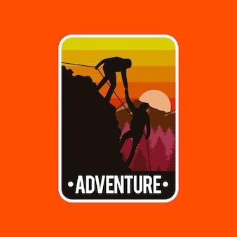 Illustratie concept van mensen beklimmen bergen