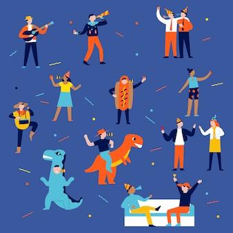 Illustratie concept van mensen die genieten van een feestje