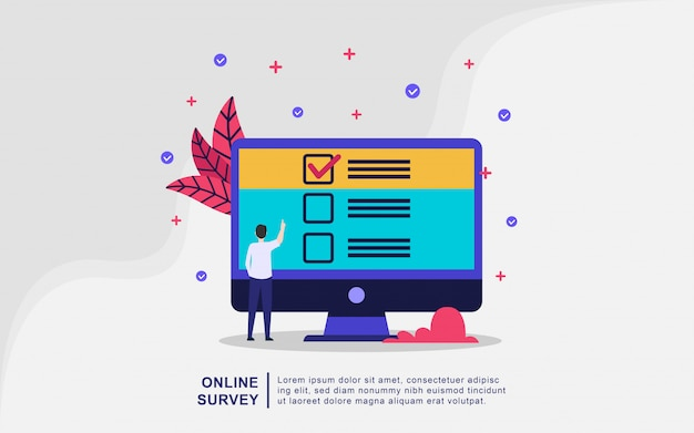 Illustratie concept van online ondersteuning. vraag en antwoord survey illustratie concept, online survey verfraaid, survey research concept. modern plat ontwerpconcept van webpagina-ontwerp