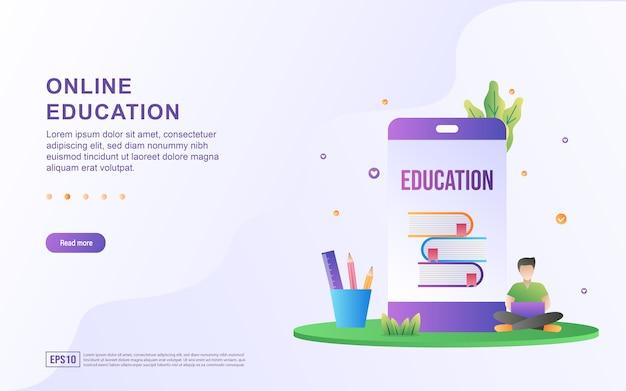 Illustratie concept van online onderwijs met mensen die laptops leren gebruiken.