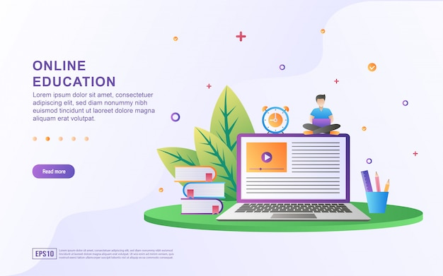 Illustratie concept van online onderwijs. online onderwijs, training en cursussen, leren.