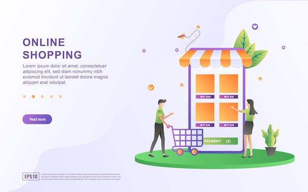 Illustratie concept van online winkelen met categorieën itemkeuzes op het scherm.