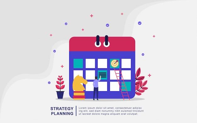 Illustratie concept van planning. mensen maken een planning voor planningsbeheer