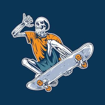 Illustratie concept van schedel skateboard
