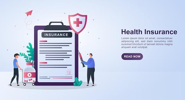 Illustratie concept van ziektekostenverzekering met de persoon die de injectie vasthoudt.