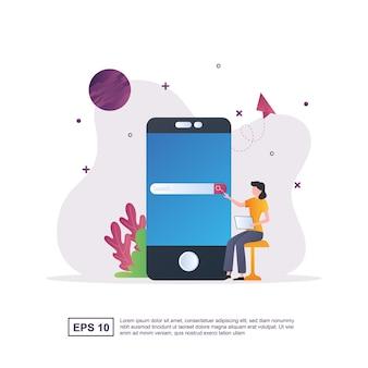 Illustratie concept van zoekmachineoptimalisatie met smartphone.