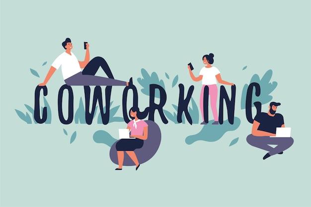 Illustratie concept voor co-working space. jonge mensen freelancers werken op laptops en computers.