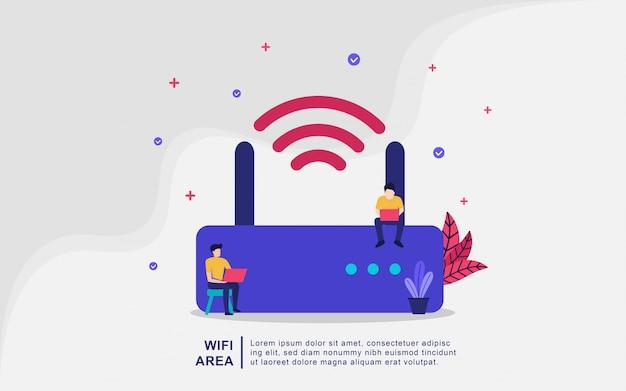 Illustratie concept wifi-gebied. draadloos gebied, gratis wifi, mensen gebruiken wifi