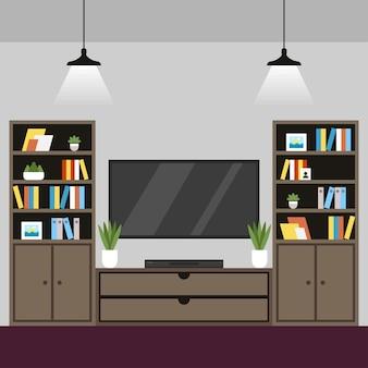 Illustratie coworking kamer interieur.