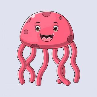 Illustratie cute jellyfish stripfiguur.