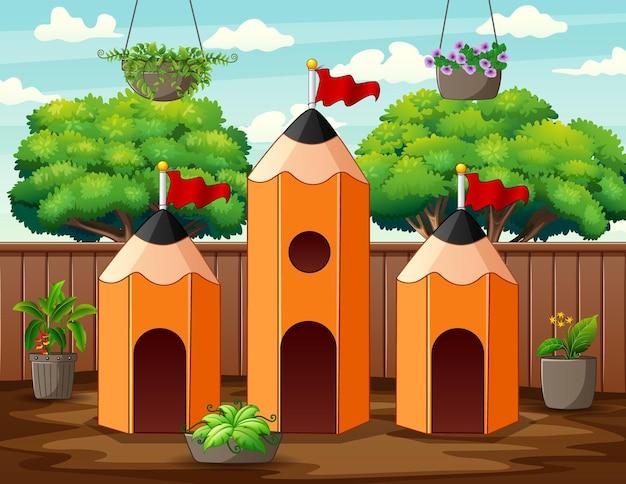 Illustratie de drie van het potloodhuis in de achtertuin