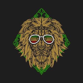 Illustratie de leeuwenkop draagt een bril tegen een achtergrond van groene rechthoekige ornamenten vintage gravure