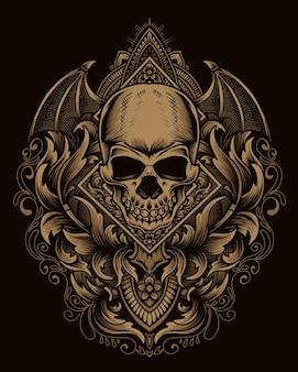 Illustratie demon schedel hoofd met antieke gravure ornament Premium Vector