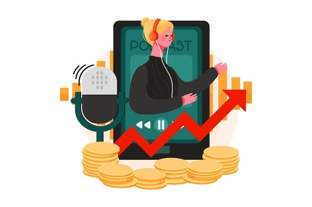 Illustratie die inkomsten genereert met podcasts