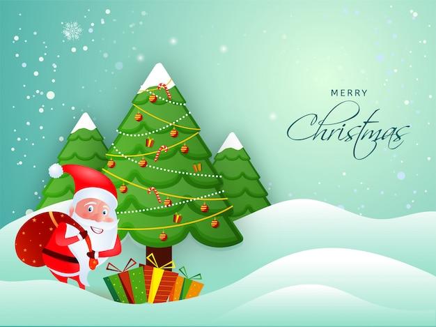 Illustratie die van de kerstman een zware zak met decoratieve kerstmisboom opheft op sneeuwvalgolven voor vrolijke kerstmisviering.